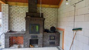 Печной комплекс с мангалом, плитой под казан и нишей под раковину
